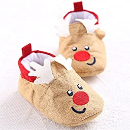 LIVEBOX Infant Baby Christmas Special Cotton Soft Sole Anti-Slip Prewalker Toddler Warm Shoes (2: 6~12 months, Reindeer Khaki)