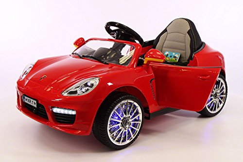 Porsche Boxster Style 12V, 2 Motors Kids Ride-On Car MP3+USB Player, Battery Powered Wheels RC Parental Remote + 5 Point Safety Harness