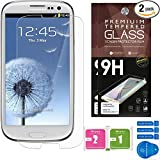Samsung Galaxy S3 Screen Protectors [Set of 2] - Ballistic Tempered Glass - Maximum Impact Protection - 99.9% Crystal Clear HD Glass - No Bubbles - Cell Phone DIY® Premium Protector Kit