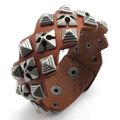 Konov Jewellery Wide Genuine Leather Unisex Men's Women's Bangle Cuff Bracelet, Punk Rock Style, Fits 7