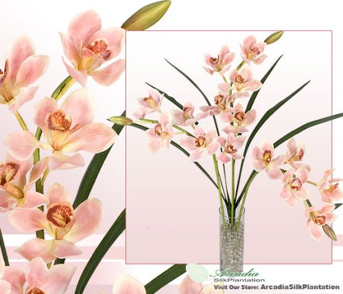 Three 31″ Cymbidium Orchid Artificial Silk Flowers with leaves