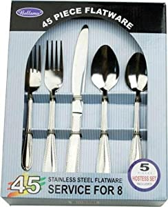 Deluxe 45pc Stainless Steel Flatware Set - Service for 8 by Bellemo