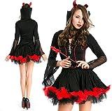 魔女コスプレハロウィン悪魔巫女女王バンパイア吸血鬼コスチューム衣装仮装大人変装パーティーグッズ黒X赤フリーサイズ