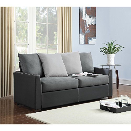 Black Leather Sofa Throw Pillows: Dorel Living Faux Leather Bristol Sofa With 4 Back Pillows