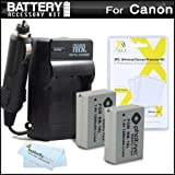 2 Pack Battery And Charger Kit For Canon PowerShot SX40 HS, SX50 HS, SX50HS, G15, PowerShot G16, SX60HS, SX60 HS, G3 X Digital Camera Includes 2 Extended Replacement (1200Mah) NB-10L Batteries + More