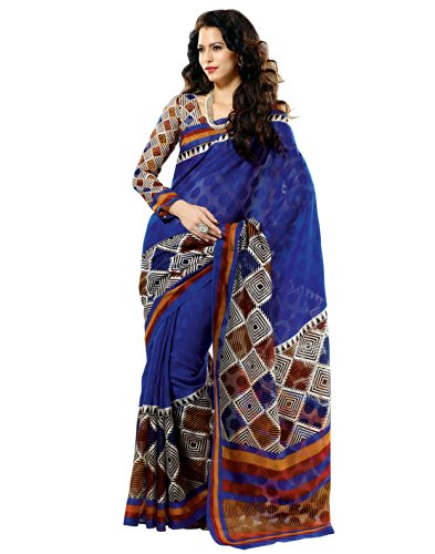Prafful Silk Bhagalpuri Printed Saree With Unstitched Blouse