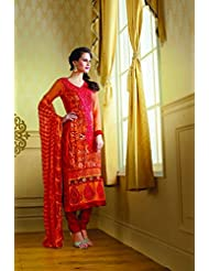 Fabfiza Womens Semi-Stitched Georgette Resham Straight Salwar Suit (Fbpr-2104_Red:Beige)