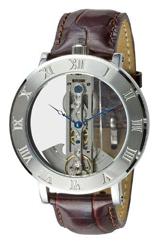 M. Johansson SingosLS Men's Automatic Brown Leder Band Full Skeleton Wrist Watch