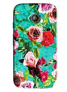Omnam Flower Printed Pattern Designer Back Cover Case For Moto E2