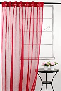 LJ Home Fashions Whisper sheer window panels in red (set of 2)