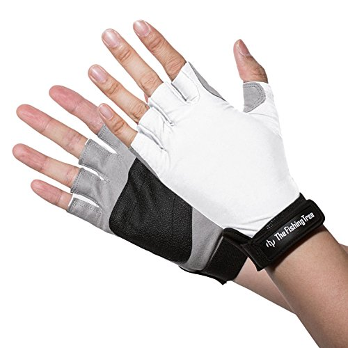 SUN PROTECTION FINGERLESS GLOVES Verified UPF 50+ UV, White M, Block Burn Damage, Avoid Skin Cancer and Aging When FISHING, KAYAKING, SAILING, CYCLING, Men And Women Accessories by The Fishing Tree (Woman Fishing compare prices)