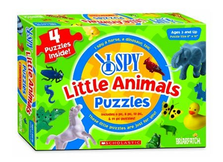Briarpatch, I Spy 4 in 1 Little Animals Puzzle, 8.00 x 2.00 x 11.00