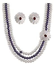 Gray & White Bead Eternal Designer Necklace Set In CZ Crystal Diamonds With Silver Plated By Viva The Company...