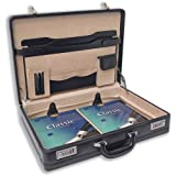 Masters Attache Briefcase Bonded Leather Expandable W485xD100xH355mm Black Ref 2377by Masters