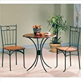 COASTER 5939 Metal and Wood 3-Piece Bistro Table/Chair Set