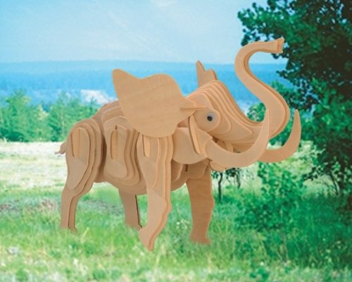 Puzzled Little Elephant 3D Natural Wood Puzzles (53 Piece)