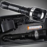 CREE XM-L 1000 Lumens 8066-T6 LED Rechargeable Zoomable Flashlight Torch With Car Charger