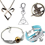 [Pack of 5: 1*Necklace + 2*Bracelet + 1*Pin + 1*Keychains] CuteEdison Harry Potter Inspired Silver Plated Double Wings Golden Snitch Bracelet + Deathly Hallows Keyrings + The Hunger Games Movie Inspired Mockingjay Prop Rep Pin Bronze + The Mortal Instrum