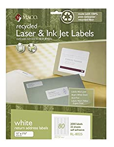 Maco recycled laser ink jet white return for Maco laser and inkjet labels template