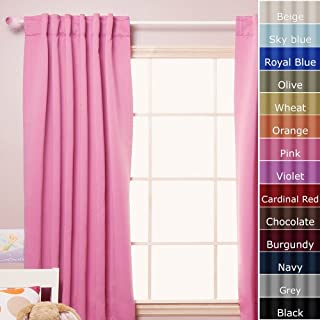 Best Home Fashion Thermal Insulated Blackout Curtain with Solid Back Tab, 52-Inch by 72-Inch, Pink