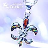 ブラックパール装飾 フルールドリス(百合の花の紋章)デザイン メンズ&レディース シルバー925 ペンダント ネックレス