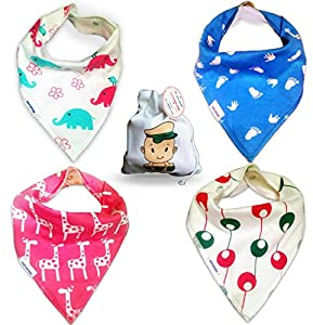 Baby Bandana Drool Bibs for Girls Super Soft Absorbent Cotton - 2 Snaps and Fleece Backing- Infants Toddlers Drooling, Teething, and Feeding 4 Bib Set - Perfect Baby Girl Shower Gift From Tiny Captain