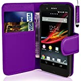 Purple Sony Xperia E4 Book - Quality Premium Pu Leather Flip Wallet Case Cover Pouch + Screen Protector With Microfibre Polishing Cloth + LCD Screen Stylus Pen (Purple Side Wallet)