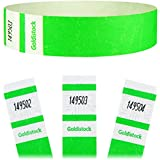 "Goldistock Select Series - 3/4"" Tyvek Wristbands Vivid Day Glow Neon Green 500 Count - Event Identification Bands (Paper - Like Texture)"