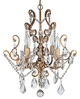 "'Tiffany Collection' All Crystal Swag Chandelier Lighting with 4 Lights, Mini Style W15.5"" X H17"""
