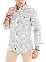 TIME OF BOCHA Camisa Hombre Lino (Gris / Blanco)