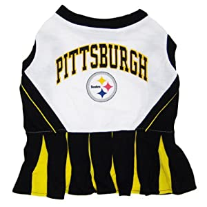 Pets First NFL Pittsburgh Steelers Dog Cheerleader Dress, Medium
