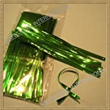 "100pcs 4"" Metallic Green Twist Ties"