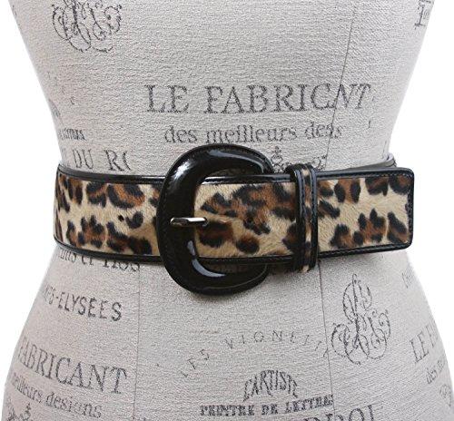 """2"""" Wide Ladies Patent Leather Leopard Print Animal Fur Fashion Belt Size: M/L - 36 Color: Beige"""
