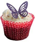 Toppercake Edible Wafer Butterfly Cup Cake Decorations Deep Purple
