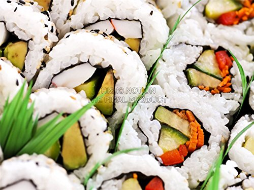 PHOTOGRAPHY COMPOSITION FOOD SUSHI RICE VEGETABLES FRESH TASTY ART PRINT MP5673A (Tasty Foto Art compare prices)