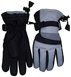 N\'Ice Caps Men\'s Thinsulate and Waterproof Colorblocked Snowboarder Gloves (Small/Medium, Silver/Charcoal Grey/Black)