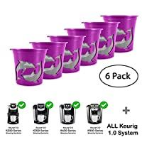 Refillable K-Cups Reuse Coffee Filters for Keurig Brewers - Fits K200, K300, K400, K500 Series and all 1.0 Brewers (Purple,6-Pack)