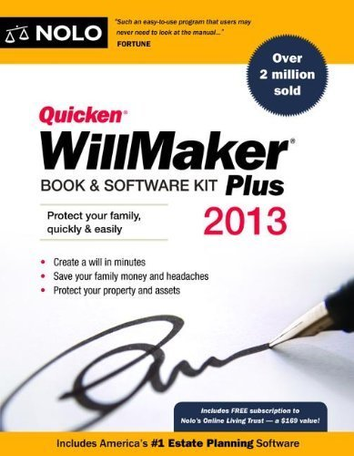 Quicken WillMaker Plus 2013 Edition: Book & Software Kit by Editors of Nolo 2013 Edition (10/31/2012)