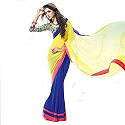 Yellow & Blue Georgette Printed Saree with Blouse