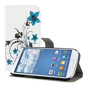 kwmobile® Wallet Kunstlederhülle mit Blumen-Design und Ständerfunktion für das Samsung Galaxy S3 i9300 / S3 Neo i9301 in Weiß Blau etc. - Schicker und praktischer Schutz für Ihr Handy