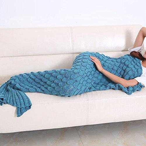 Meerjungfrau Decke, Handgemachte Meerjungfrau Strickmuster Schlafsack, alle Jahreszeiten Schlafsack, Meerjungfrau Schwanz Deckung (Erwachsene, Himmelblau)