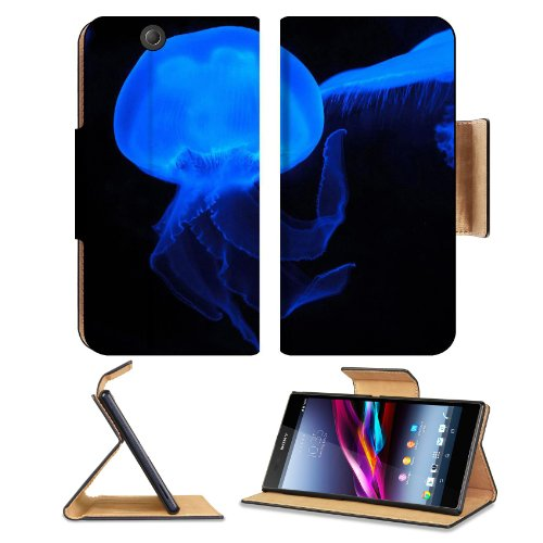 Moon Jellyfish Deep Sea Creature Neon Blue Transparent Sony Xperia Z Ultra Flip Case Stand Magnetic Cover Open Ports Customized Made To Order Support Ready Premium Deluxe Pu Leather 7 1/4 Inch (185Mm) X 3 15/16 Inch (100Mm) X 9/16 Inch (14Mm) Msd Sony Xpe