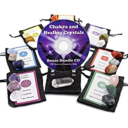 22 Stone Chakra Set Crystal Healing Natural Mineral Tumbled Gemstones for All 7 Chakras, Includes Quartz Point, Satin Bags, Information Cards with Symbols and Bonus Cd. Uses Metaphysical, New Age, Spiritual, Meditation, Wicca and Reiki