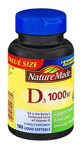 Nature Made D3 1000IU Vitamin D Supplement Liquid Softgels , 180 CT (Pack of 3) (Nature Made Vitamin D3 1000iu compare prices)