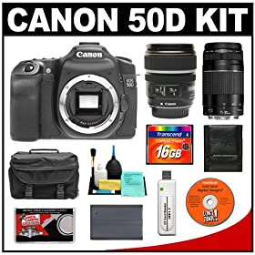 Canon EOS 50D Digital SLR Camera Body + Canon EF-S 17-85mm IS USM Lens + Canon EF 75-300mm f/4-5.6 III Lens + 16GB CF Card + Battery + Case + Accessory Kit