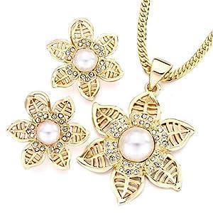 Pugster Gold Flower Clear Detailed Crystal White Pearl Pendant Earrings Set