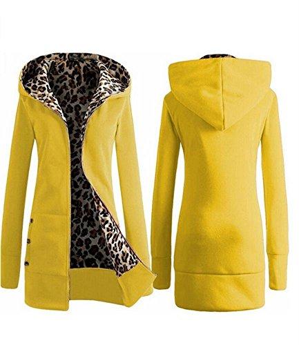 goewa Cappotto invernale caldo con chiusura a zip con cappuccio giacca Parka giacca felpa Yellow Small