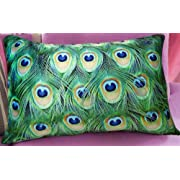 Fablegent Elegant Decorative Pillow / Cushion Cover - Rectangular Emerald Green Peacock Feather Design on Both Sides - Velvet Fabric - Return shipping covered for continental US regions