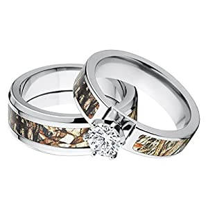 Amazon His And Hers Matching Mossy Oak Duck Blind Camo Wedding Ring Set Jewelry