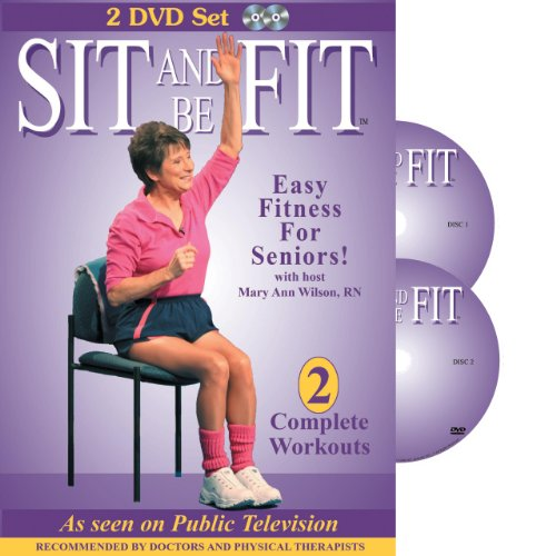 Sit and Be Fit-Senior Chair Exercise Workout, 2 DVD set, Seniors Fitness Video, Stretching, Aerobics, Strength Training, and Balance. Improve flexibility, muscle and bone strength, circulation, heart health, and stability, Developed By Mary Ann Wilson, RN